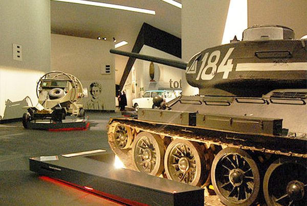 Display lighting on military tank at imperial war museum